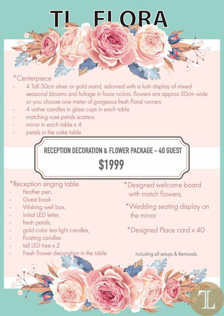 Tl Wedding Wedding Floral Package Price List